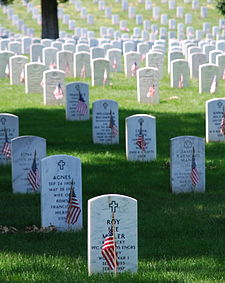 Graves at Arlington National Cemetery.